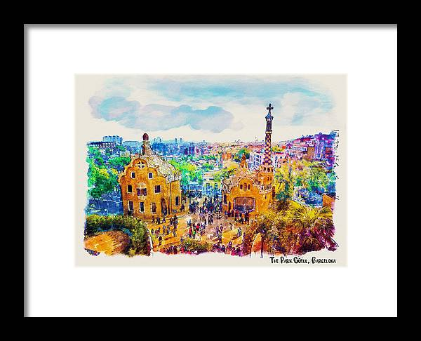 Park Guell Framed Print featuring the painting Park Guell Barcelona by Marian Voicu