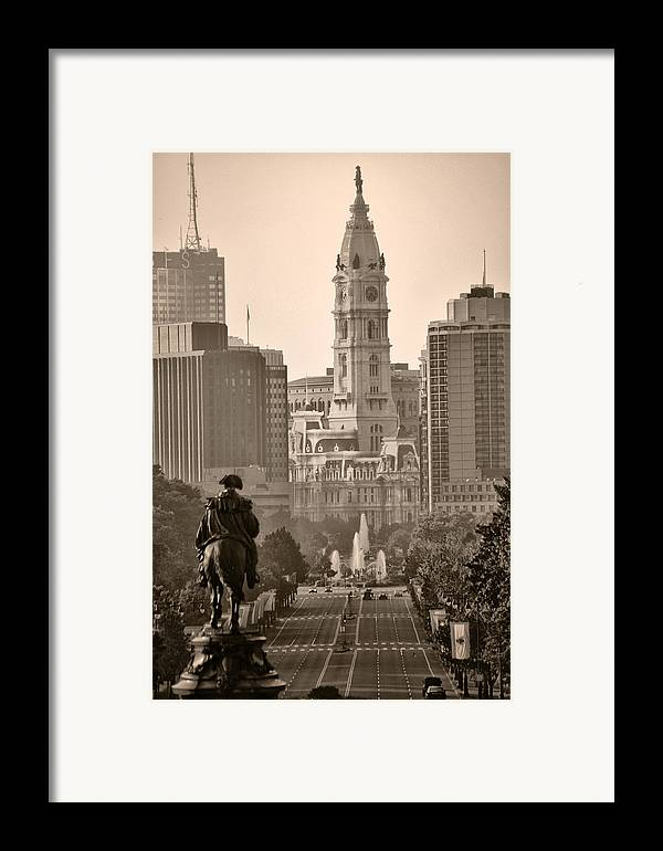 Benjamin Franklin Parkway Framed Print featuring the photograph The Parkway In Sepia by Bill Cannon