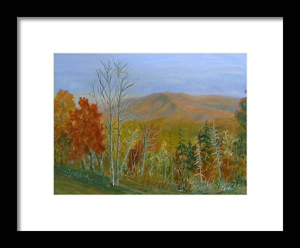 Mountains; Trees; Fall Colors Framed Print featuring the painting The Parkway View by Ben Kiger
