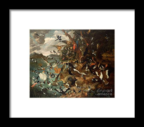 The Framed Print featuring the painting The Parliament Of Birds by Carl Wilhelm de Hamilton