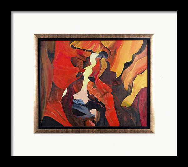 Cave Framed Print featuring the painting The Passage by Helene Lagoudakis