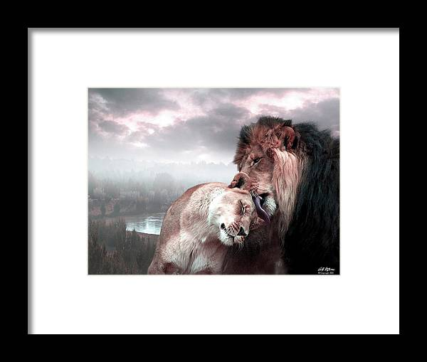 Lions Framed Print featuring the digital art The Passion by Bill Stephens
