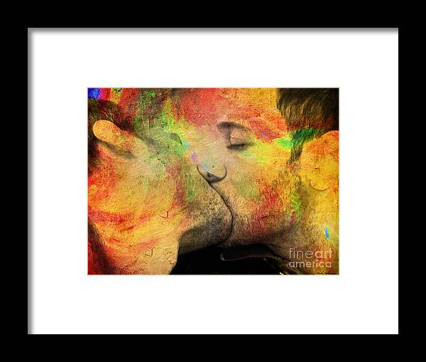Kiss Framed Print featuring the painting The Passion Of A Kiss 1 by Mark Ashkenazi
