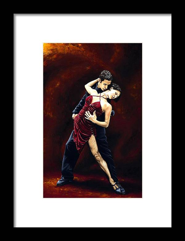 Tango Framed Print featuring the painting The Passion of Tango by Richard Young