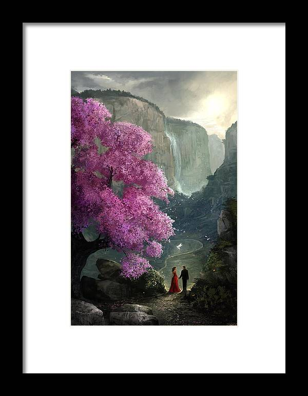 Cherry Blossom Framed Print featuring the digital art The Path by Steve Goad