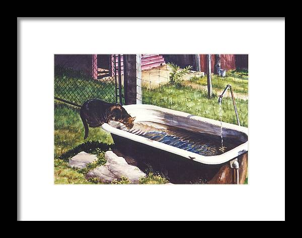 Cat Framed Print featuring the painting The Paws That Refreshes by Marion Hylton