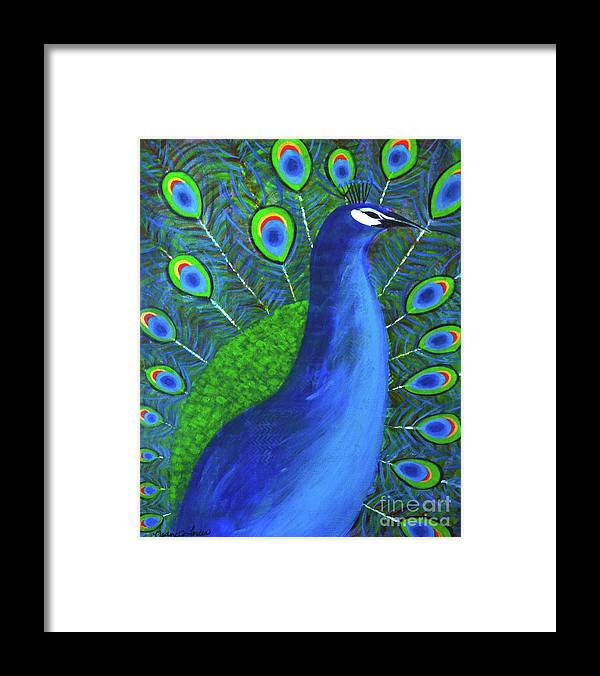 Peacock Framed Print featuring the painting The Peacock by Nadine Larder