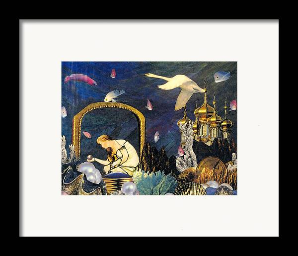 Surealism Framed Print featuring the mixed media The Pearl Of Great Price by Gail Kirtz