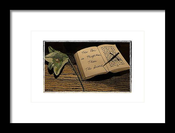 Social Comment Framed Print featuring the painting The Pen Is Mightier by Robert Boyette
