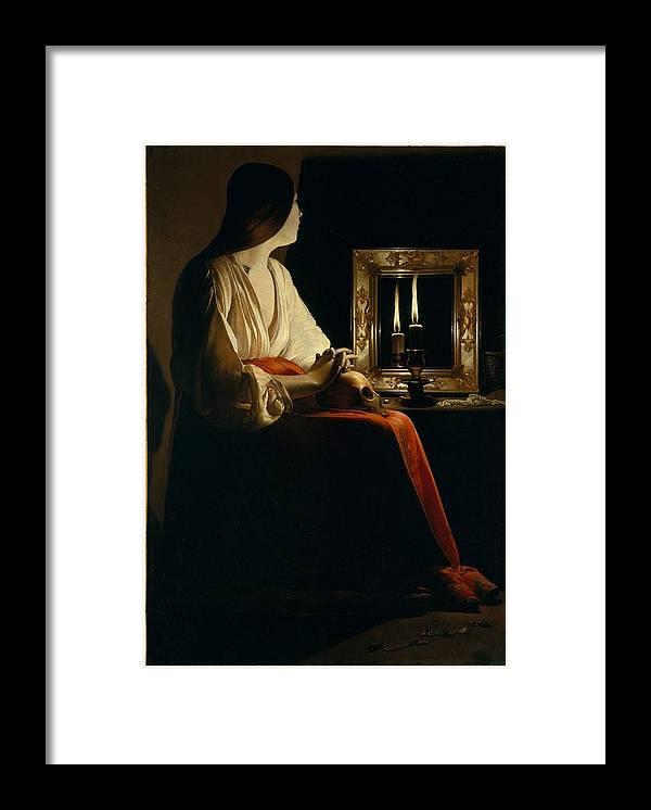 Girl Framed Print featuring the painting The Penitent Magdalen, Georges De La Tour by Georges de La Tour