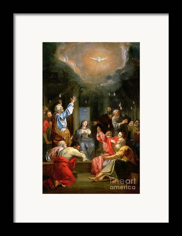 The Pentecost (oil On Canvas) Dove; Prayer; Adoration; Wonder; Virgin Mary; Madonna; La Pentecote; Faith Framed Print featuring the painting The Pentecost by Louis Galloche