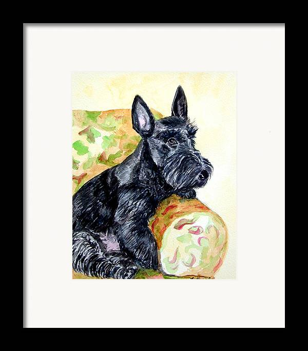 Scottish Terrier Framed Print featuring the painting The Perfect Guest - Scottish Terrier by Lyn Cook