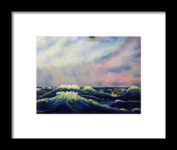 Water Framed Print featuring the painting The Perfect Storm by Charles Vaughn