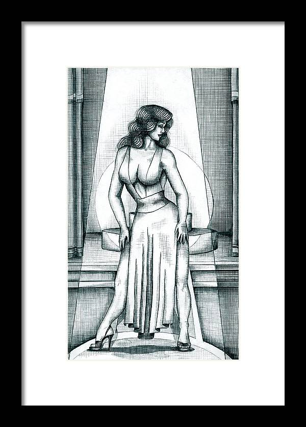 Figure Framed Print featuring the drawing The Performer by Scarlett Royal