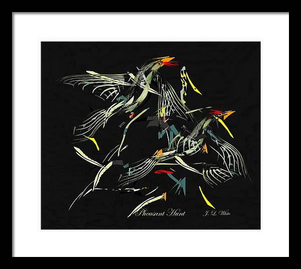 Game Birds In Startled Flight. Framed Print featuring the digital art The Pheasant Hunt by Jerry White