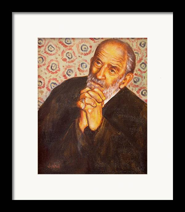 Philosopher Framed Print featuring the painting The Philosopher by Ixchel Amor