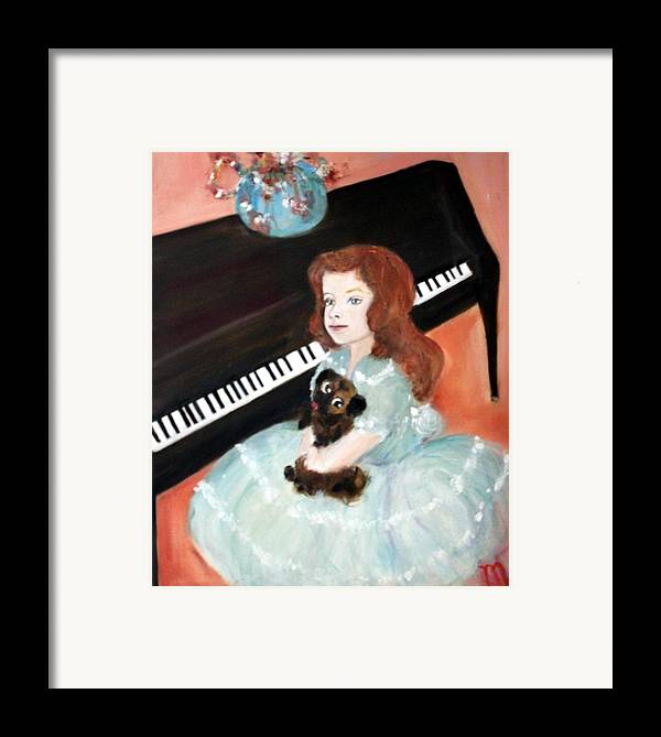 Piano Framed Print featuring the painting The Pianist And Her Pekinese by Michela Akers