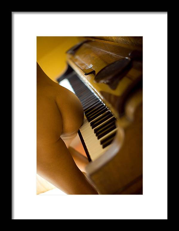 Sensual Framed Print featuring the photograph The Piano by Olivier De Rycke