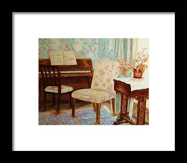 Iimpressionism Framed Print featuring the painting The Piano Room by Carole Spandau