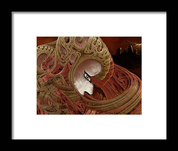 Warrior Darkness Loneliness Eyes Shield Framed Print featuring the digital art The Pilgrim by Veronica Jackson