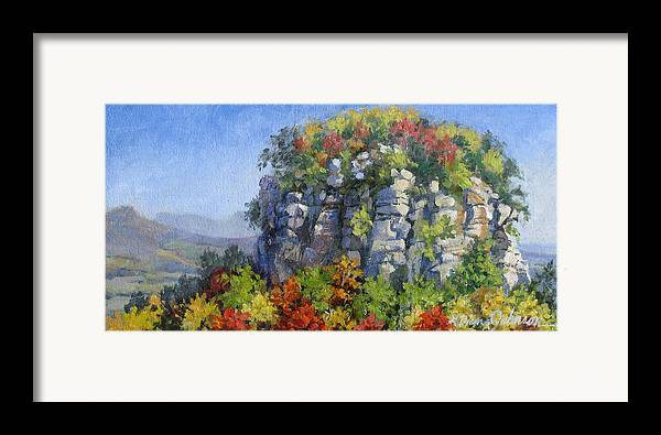 Mountains Framed Print featuring the painting The Pilot - Pilot Mountain by L Diane Johnson