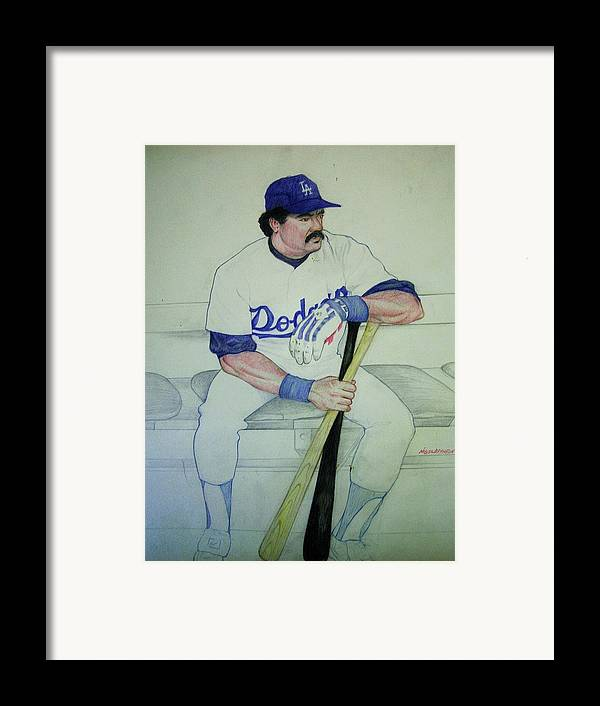Baseball Framed Print featuring the drawing The Pinch Hitter by Nigel Wynter