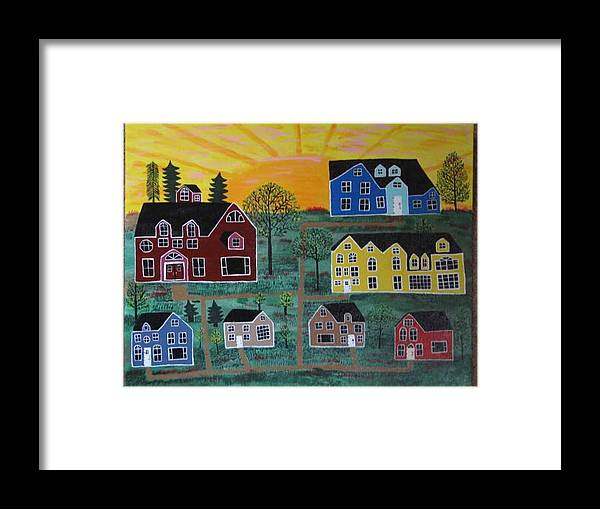 Sunshine Framed Print featuring the painting The Pines at Altonshine Sky by Mike Filippello