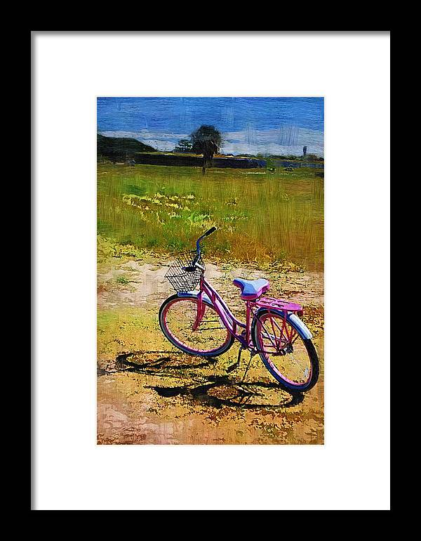Framed Print featuring the photograph The Pink Bike by Donna Bentley