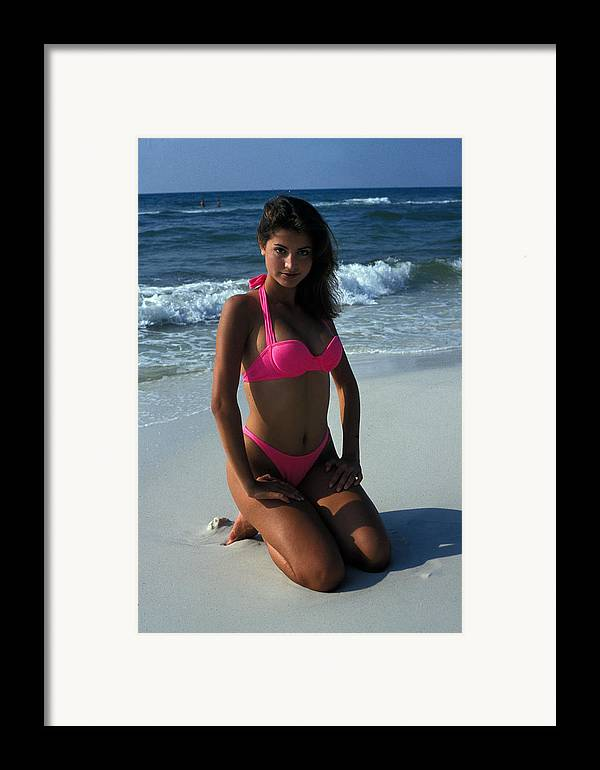 Attractive Framed Print featuring the photograph The Pink Bikini by Carl Purcell