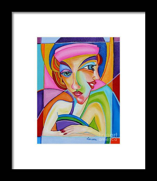 Contemporary Framed Print featuring the painting The Pink Hat by Loretta Orr