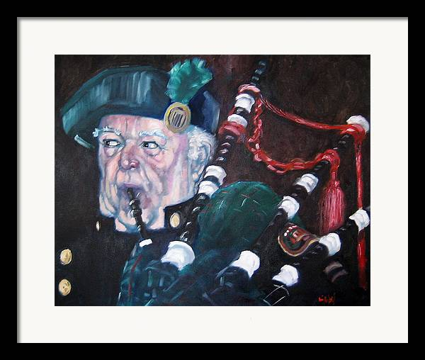 Scottish Irish Ireland Scotland Music Portrtait Framed Print featuring the painting The Piper by Kevin McKrell