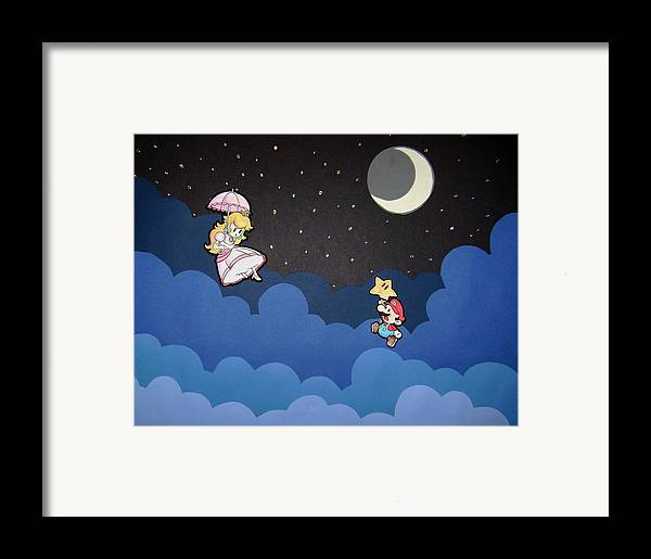 Mixed Framed Print featuring the relief The Plumber And The Princess by Kenya Thompson