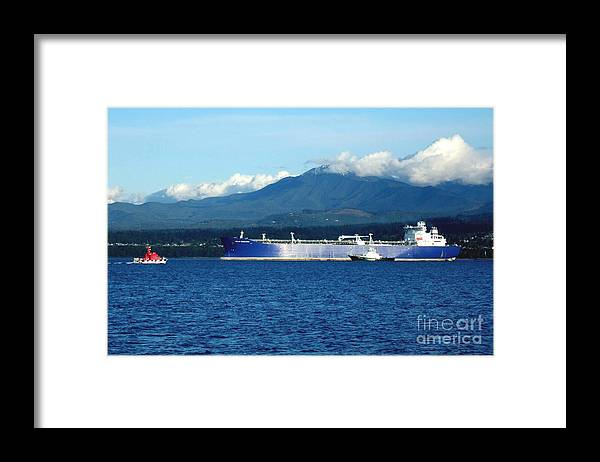 Photography Framed Print featuring the photograph The Polar Resolution Oil Tanker Port Angeles Harbor Wa by Delores Malcomson
