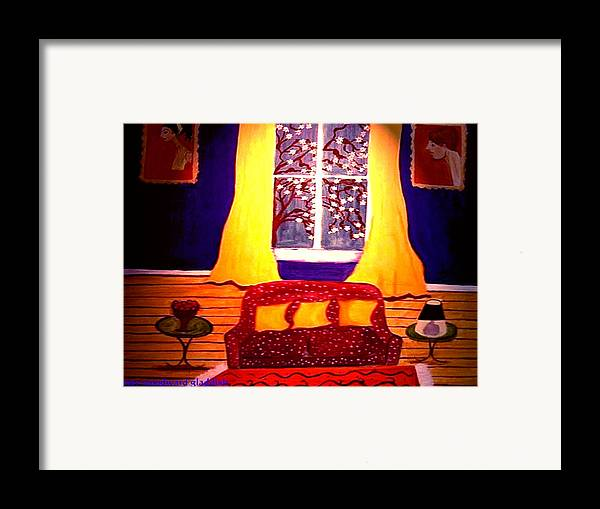 Still Life Framed Print featuring the painting The Polka Dot Sofa by Rusty Woodward Gladdish