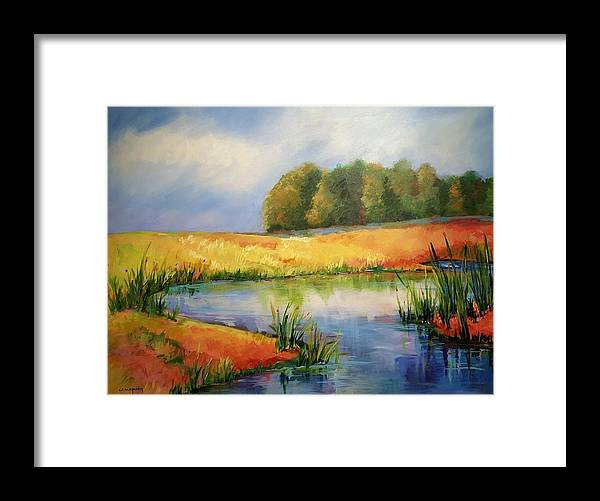 Ponds Framed Print featuring the painting The Pond by Ginger Concepcion