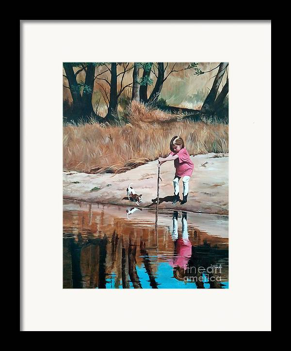 Scenes Framed Print featuring the painting The Pond by Suzanne Schaefer