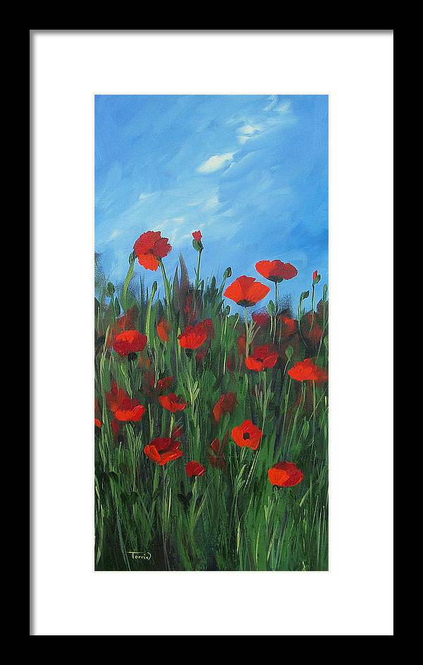 Poppy Framed Print featuring the painting The Poppy Field by Torrie Smiley