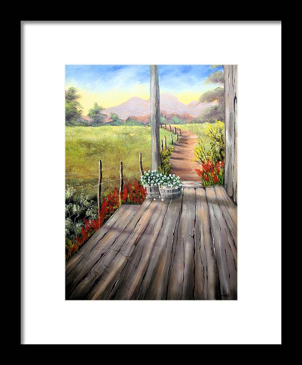 Porch Framed Print featuring the painting The Porch by Sherry Winkler