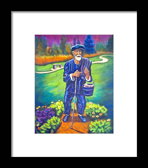 Framed Print featuring the painting The Potato Man by Steve Lawton