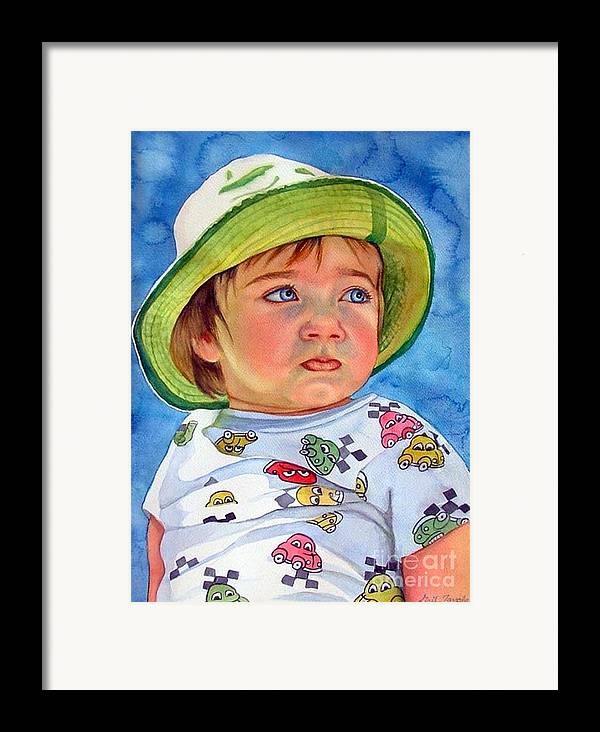 Portrait Framed Print featuring the painting The Pout by Gail Zavala