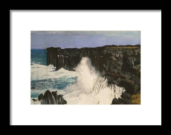 Iceland Framed Print featuring the pastel The Power Of The Ocean by Susan Singer