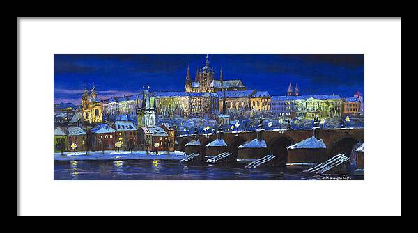 Prague Framed Print featuring the painting The Prague Panorama by Yuriy Shevchuk