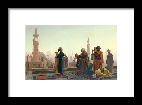 The Framed Print featuring the painting The Prayer by Jean Leon Gerome