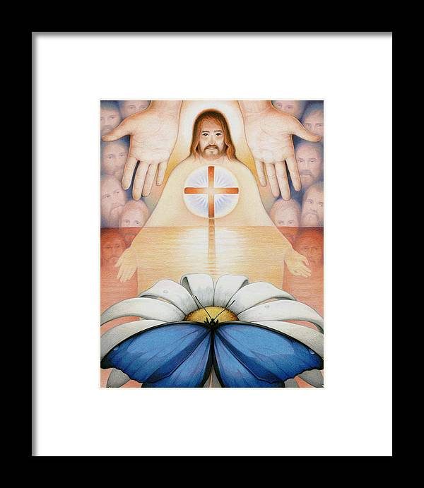Jesus Framed Print featuring the drawing The Price And The Promise by Amy S Turner