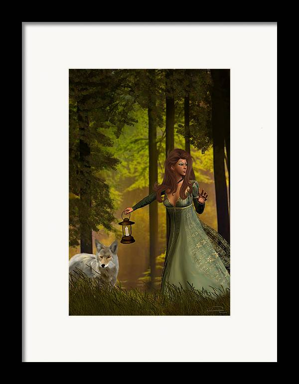 Princess Framed Print featuring the painting The Princess And The Wolf by Emma Alvarez