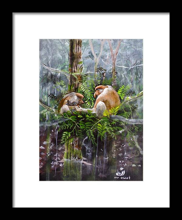 Painting Probosis Monkey Borneo Rare Animal Long Nose Framed Print featuring the painting The Probosis Monkey Family by Muyang Kumundan
