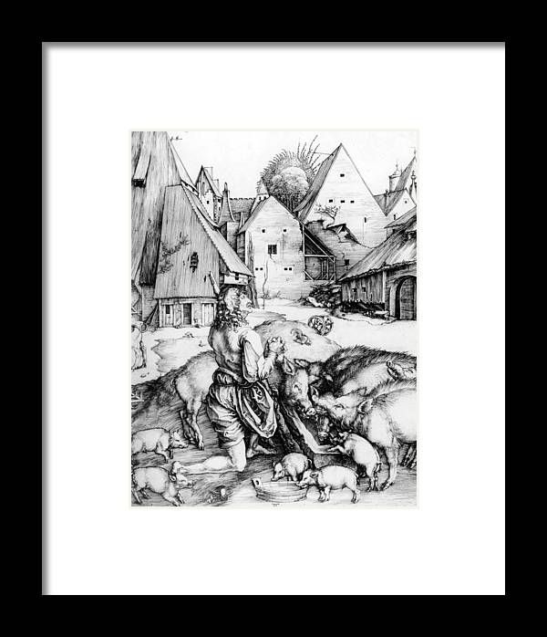 Religion Framed Print featuring the drawing The Prodigal Son by Albrecht Durer or Duerer