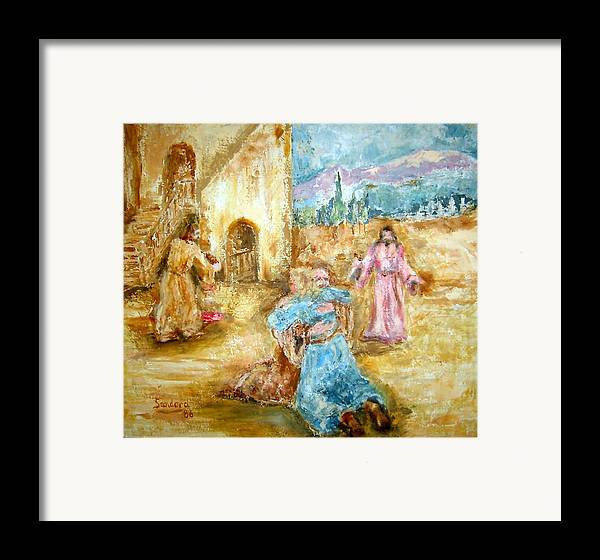 People Mountain Trees Balcony Portrait Religious Framed Print featuring the painting The Prodigal Son by Joseph Sandora Jr