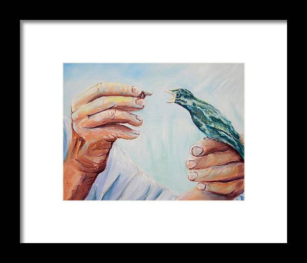 Contemporary Framed Print featuring the painting The Provider by Renee Dumont Museum Quality Oil Paintings Dumont