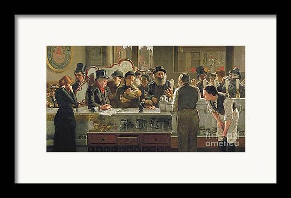 Drinking;drink;social;pub;landlord;barman;barmen Framed Print featuring the painting The Public Bar by John Henry Henshall